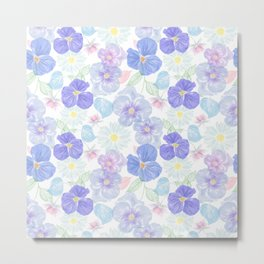 Seamless floral pattern with viola and daisy. Endless texture Metal Print