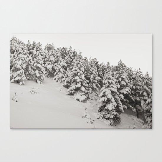 Snowy trees. Retro Canvas Print