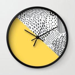 Sunny yellow pillow with mixed brushstrokes Wall Clock