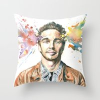 james franco Throw Pillows featuring Mind Blown::James Franco by James Murlin