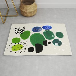 Fun Abstract Minimalist Mid Century Modern Colorful Shapes Lime Green Blue Watercolor Bubbles Rug