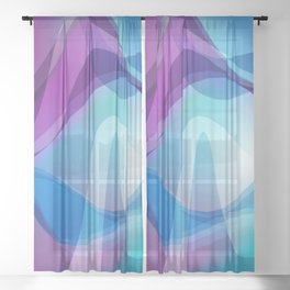 Blue And Purple Wavy Swirl Hippie Abstract Design Sheer Curtain