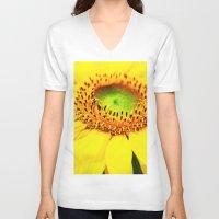 sunflower V-neck T-shirts featuring Sunflower by Falko Follert Art-FF77