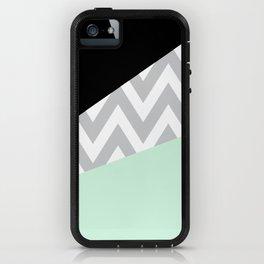 Mint & Black Chevron Block iPhone Case