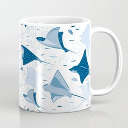 Blue stingrays // white background Coffee Mug