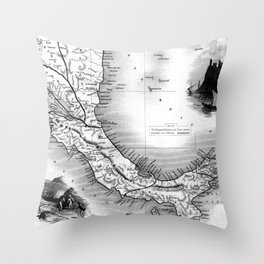 Vintage Map of Panama (1851) BW Throw Pillow