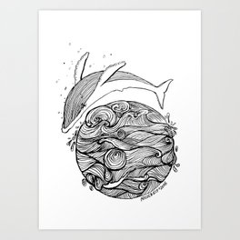 Crying whale Art Print