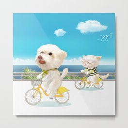 Biking Metal Print