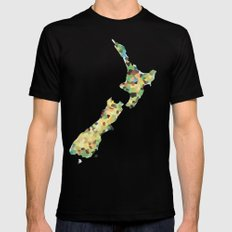 Map of New Zealand  Mens Fitted Tee Black SMALL