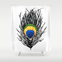 peacock feather Shower Curtains featuring Peacock Feather by Kayt Hester Masking Tape