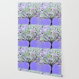 TREES OIL PAINTING PURPLE Wallpaper