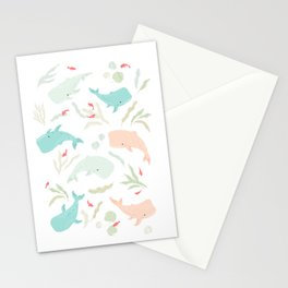 Pastel Whale Pattern Stationery Cards