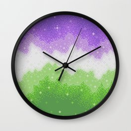 Genderqueer Pride Galaxy Wall Clock