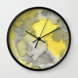 Hand painted gray yellow abstract watercolor pattern Wall Clock