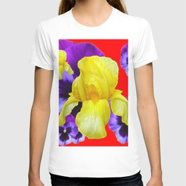 RED COLOR YELLOW-PURPLE PANSY ART T-shirt