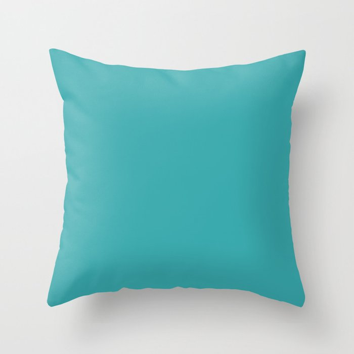 Best Selling Aqua / Teal / Turquoise Solid Color Pairs with Sherwin Williams Aquarium SW6767 Throw Pillow