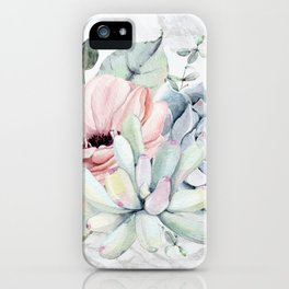 Pretty Succulents on Marble by Nature Magick iPhone Case
