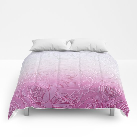 roses and pink gradient Comforters