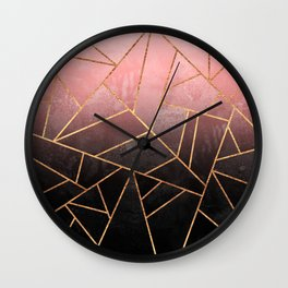 Pink And Black Stone Wall Clock