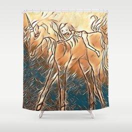 Unicorn Ride Beach Fantasy Shower Curtain