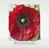 poppy Shower Curtains featuring Poppy by Maria Heyens