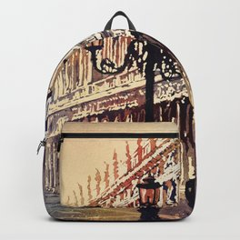 Watercolor painting of medieval architecture on St. Mark's Square in Venice, Italy. Backpack