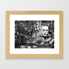 Into the Deep Unknown, 2018, 50-70cm, graphite crayon on paper Framed Art Print