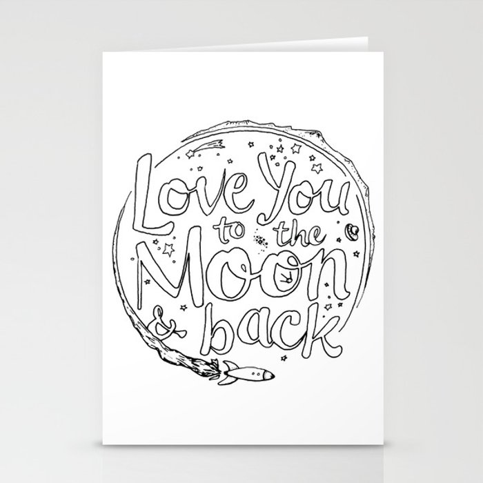 love you to the moon back coloring page stationery cards by