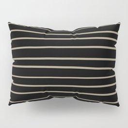 Pantone Twill Brown 16-1108 Hand Drawn Horizontal Lines on Black Pillow Sham