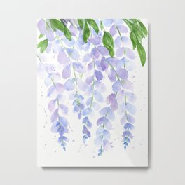 Wisteria Watercolor Print, Floral Watercolor by Liz Ligeti Kepler Metal Print