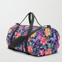 Summer Blooms & Butterflies on Dark Purple Duffle Bag