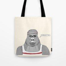 Gorillas love exercise Tote Bag