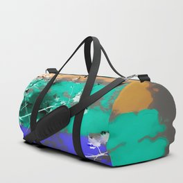 tree branch with leaf and painting abstract background in brown blue green black Duffle Bag