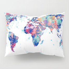 Coloful Splatter World Map Pillow Sham