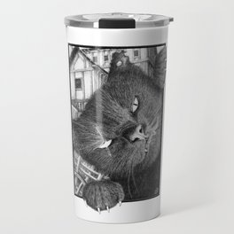 Malevolent One Eyed Black Cat in a Medieval Village Travel Mug
