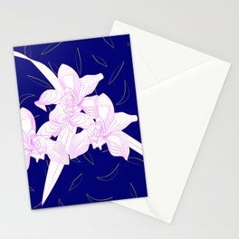 Pink and White Orchids, Navy Background Illustration Stationery Cards