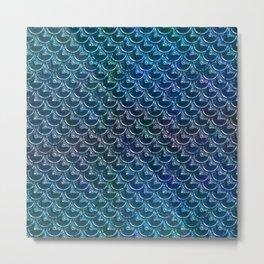 Shimmering Blue Metallic Mermaid Scales Metal Print