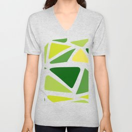 Green and yellow shapes Unisex V-Neck