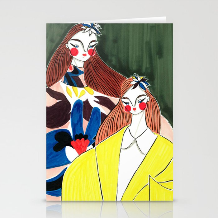 Portrait of the Birds – Delpozo Girls in Fall 2018 Looks no. 2 – Fashion Illustration Stationery Cards