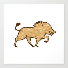 Wood Boar Marching Side Retro Canvas Print