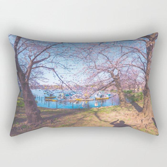 Dreamer's Vision - Sakura blooming along the lake Rectangular Pillow