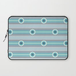 Concentric Circles and Stripes in Teals Laptop Sleeve