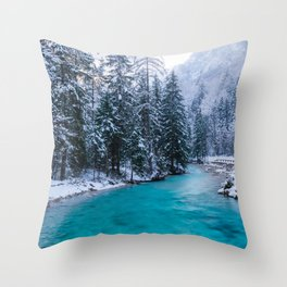 Magical river in enchanted winter forest Throw Pillow