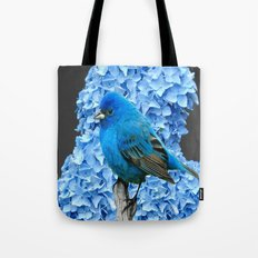 BLUE BIRD & BLUE HYDRANGEAS GREY ART Tote Bag