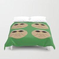 owls Duvet Covers featuring owls by kourai