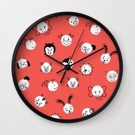 Children Animal Polka Dots Red Wall Clock