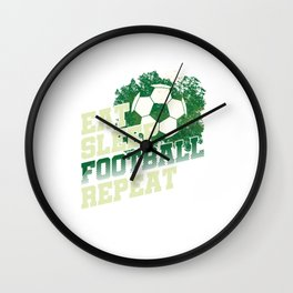 Eat Sleep Football Repeat Goal Coach Ball Game Team Sports Players Gift Wall Clock