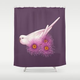 White Budgerigar Shower Curtain