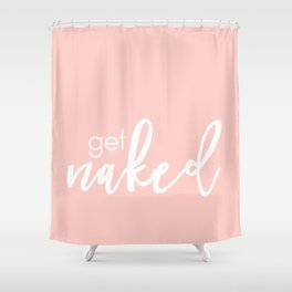Bathroom Decor // get naked - white on light pink Shower Curtain