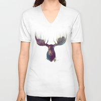antlers V-neck T-shirts featuring Moose by Amy Hamilton